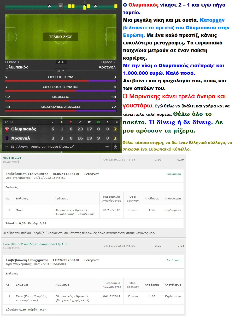 FOOTBALL OLYMPIAKOS ARSENAL 01 041212