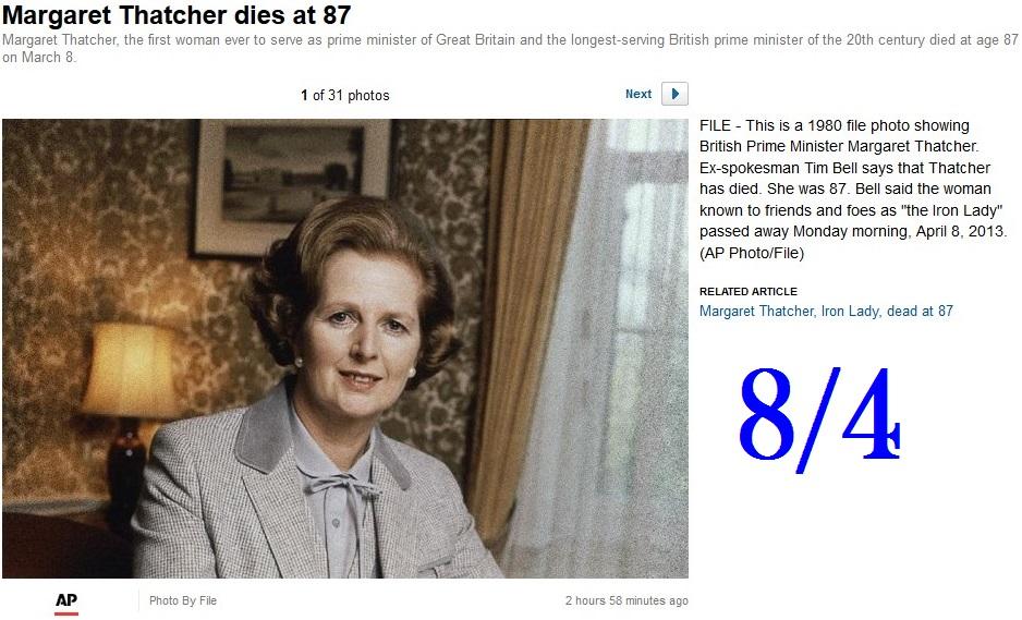 Margaret Thatcher die 87