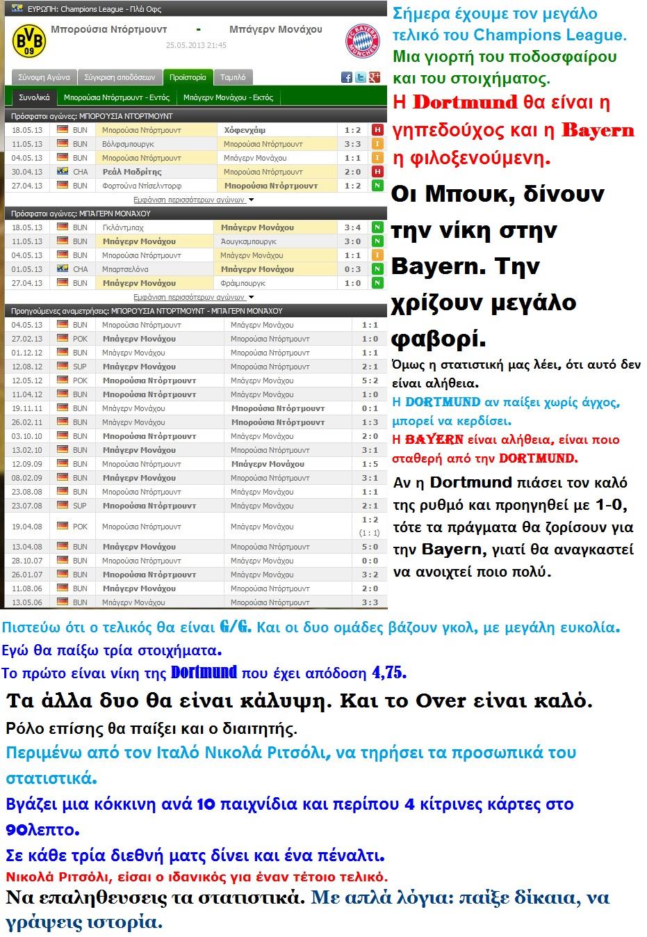 FOOTBALL CHAMPIONS LEAGUE DORTMUND BAYERN 01 01 250513