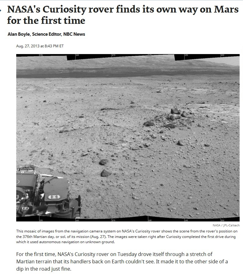 USA NASA CURIOSITY FOR THE FIRST TIME 01 020913