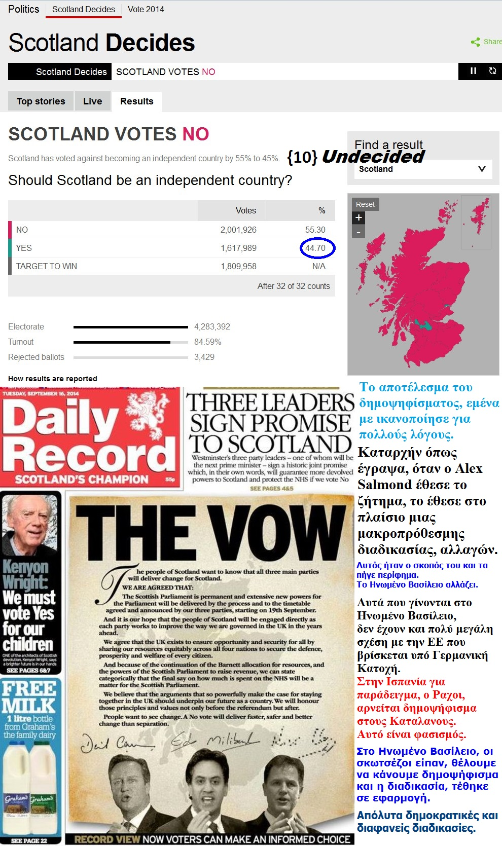 SCOTLAND SCOTTISH INDEPENDENCE DECIDES RESULTS 04 190914