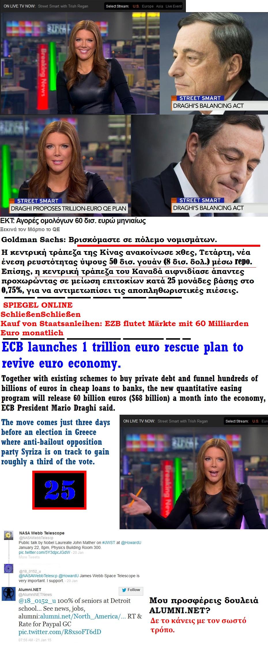 BLOOMBERG DRAGHI MARIO EUROZONE QE ELLADA ECB 01 220115