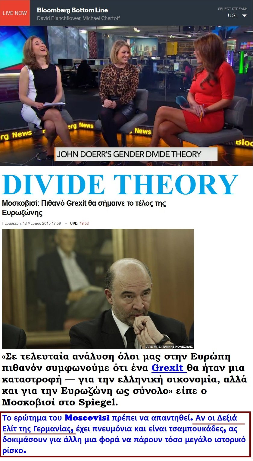 BLOOMBERG GREXIT MOSCOVISI DIVIDE THEORY TRISH LEGS 01 130315