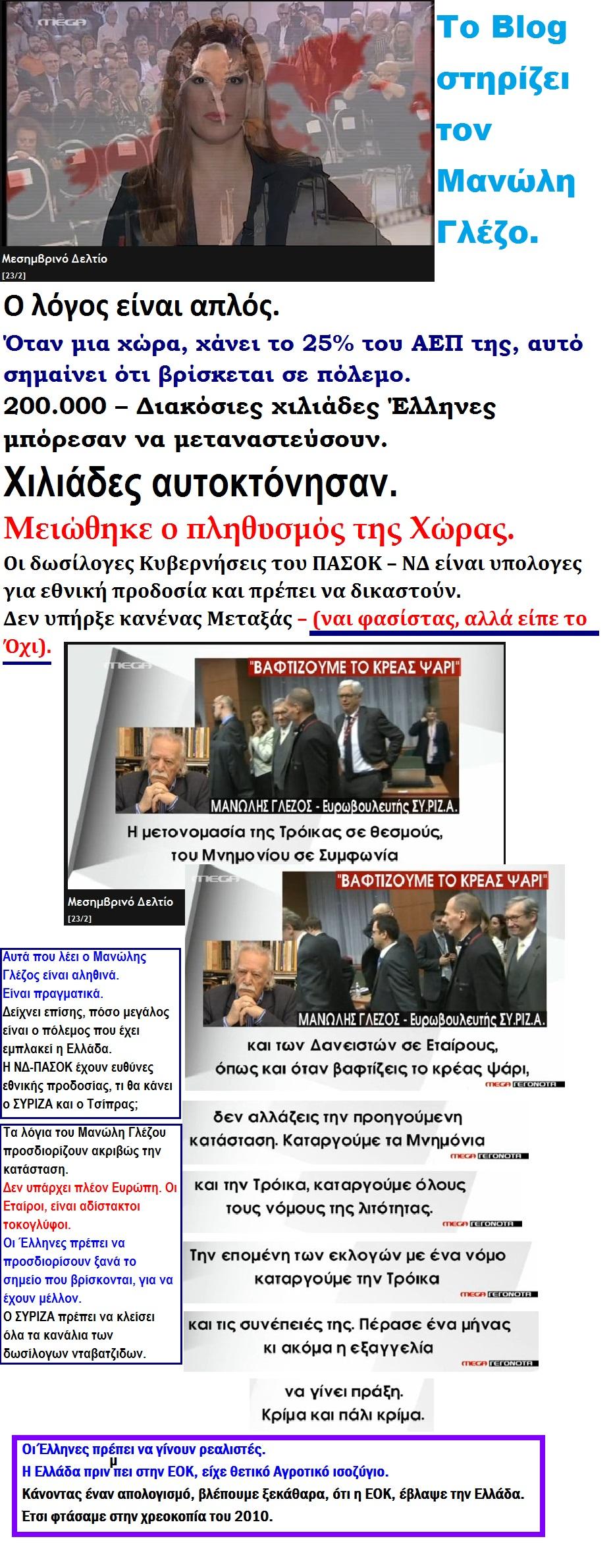 ELLADA MANOLHS GLEZOS SYGNOMH GIA PROEKLOGIKES DESMEYSEIS TSIPRAS THEODORAKIS 01 270215