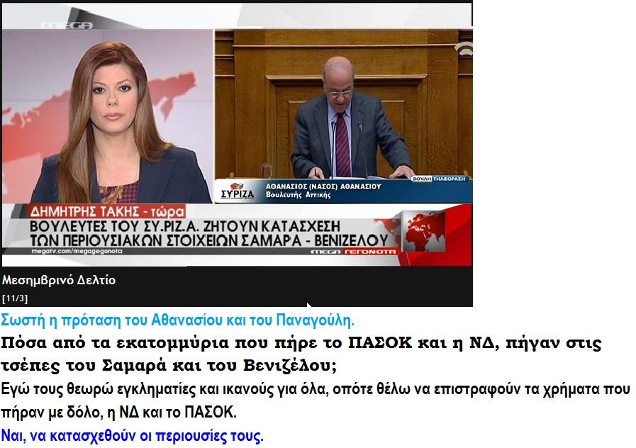 ELLADA SYRIZA ND PASOK ATHANASIOU PANAGOULHS SAMARAS BENIZELOS XREH KOMMATON 01 120315