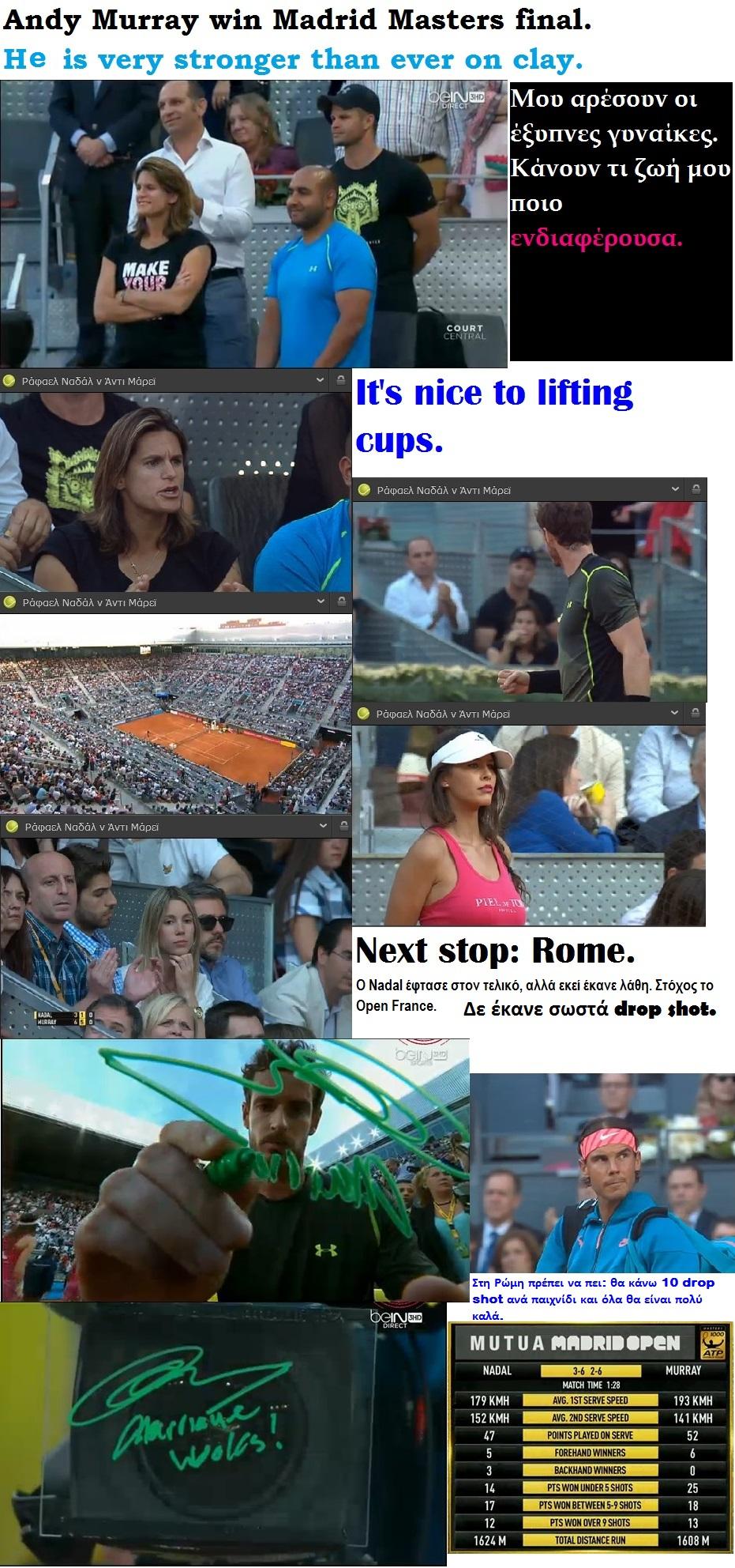 TENNIS ATP CLAY MADRID MASTERS NADAL VS MURRAY WIN 01 110515