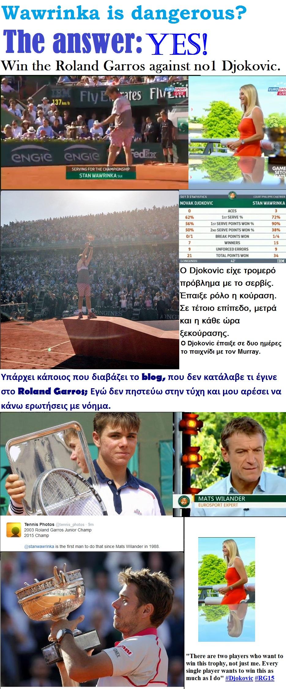 TENNIS GRAND SLAM ROLAND GARROS DJOKOVIC VS WAWRINKA WIN FINAL 01 070615