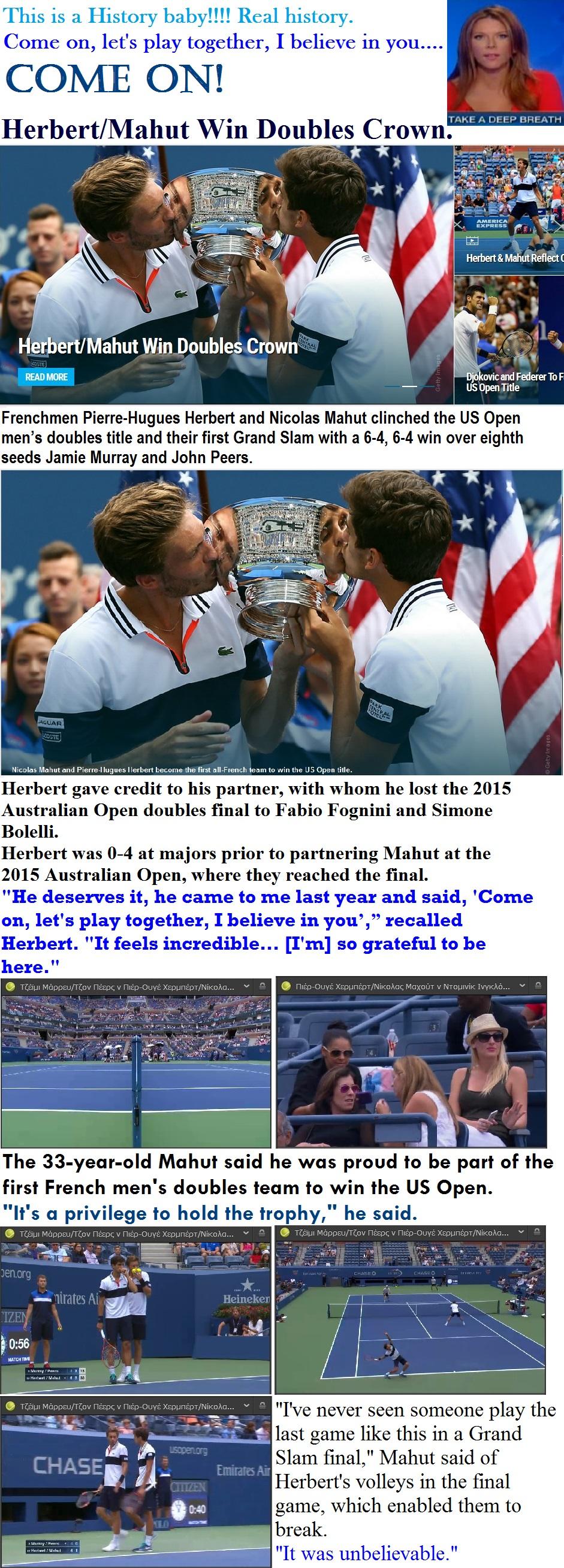 TENNIS USA GRAND SLAM OPEN US HERBERT - MAHUT WIN DOUBLES FINAL 15 130915