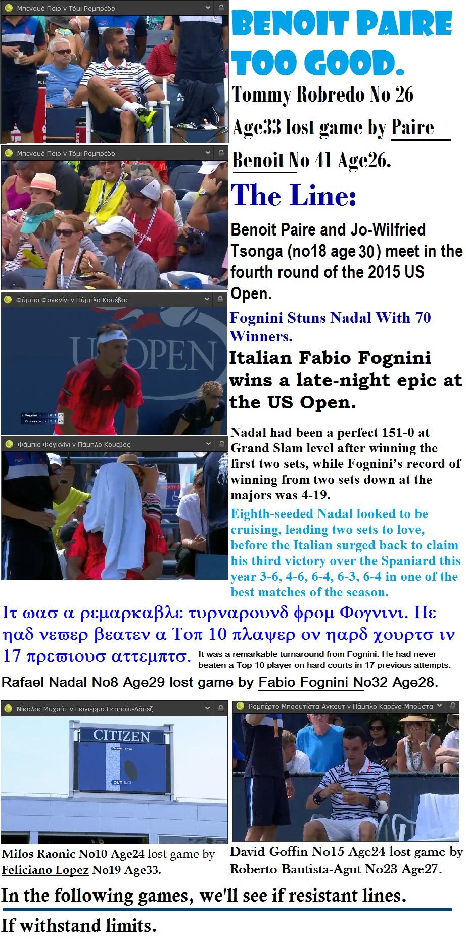 TENNIS USA GRAND SLAM OPEN US third round PAIRE FOGNINI LOPEZ BAUTISTA 01 050915