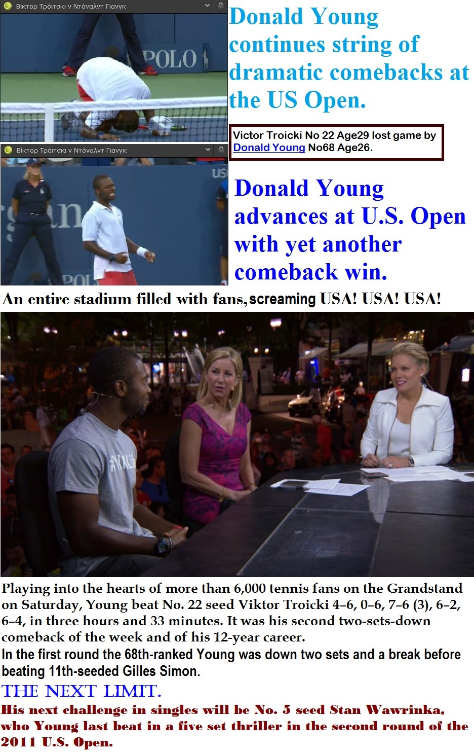 TENNIS USA GRAND SLAM OPEN US YOUNG 01 060915