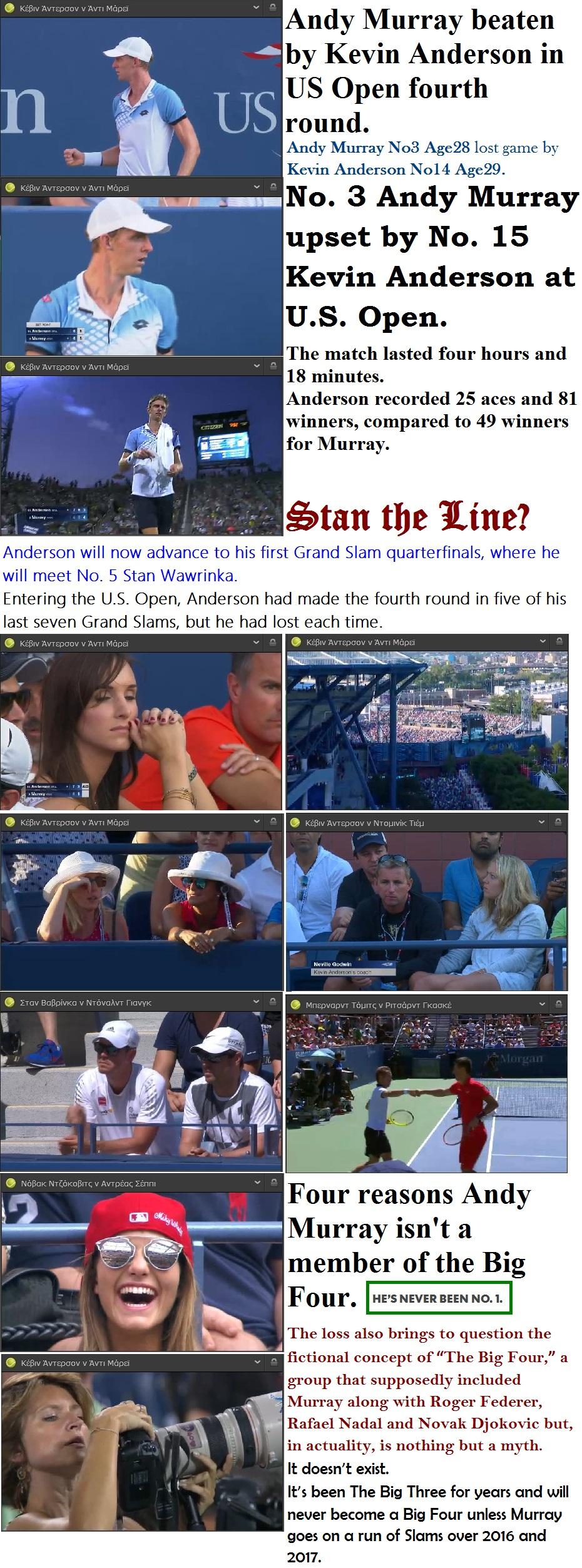 TENNIS USA GRAND SLAM US OPEN ANDERSON WIN VS MURRAY 01 080915