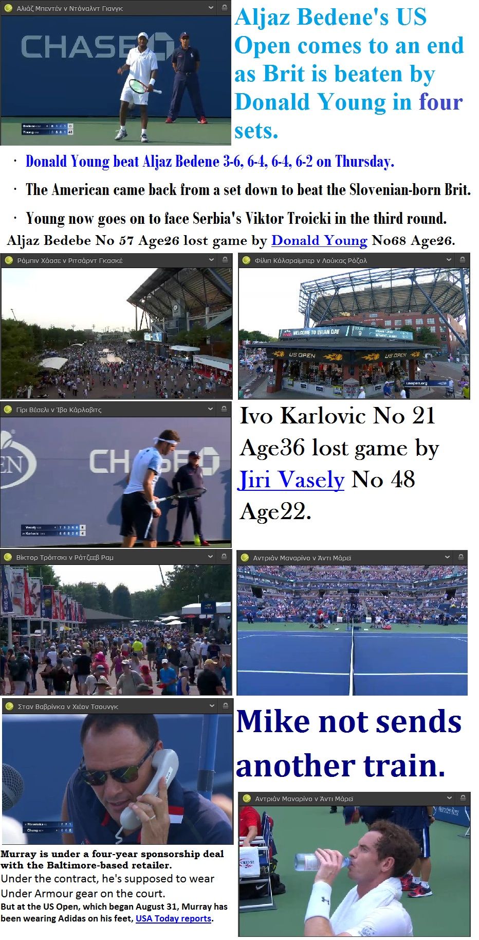 TENNIS USA GRAND SLAM US OPEN THIRD DAY YOUNG VASELY BEMELMANS MURRAY 01 040915