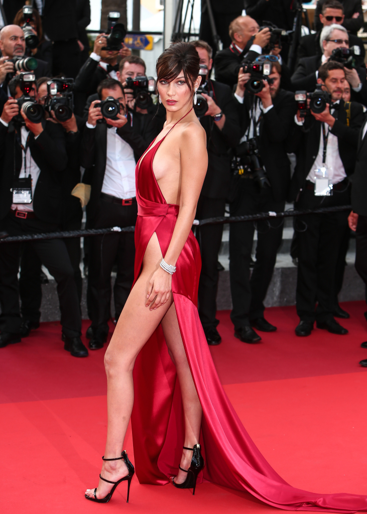 "The red carpet arrivals for the screening of ""La Fille Inconnue"" during the 69th Cannes Film Festival Featuring: Bella Hadid Where: Cannes, France When: 18 May 2016 Credit: WENN.com"
