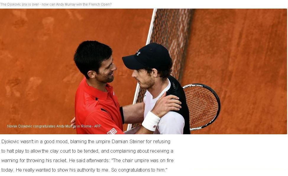TENNIS ATP ROME DJOKOVIC VS MURRAY 13 160516