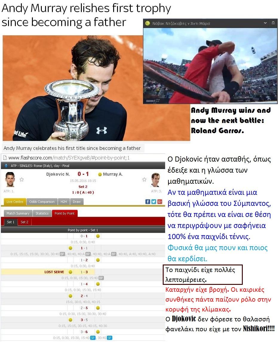 TENNIS ATP ROME DJOKOVIC VS MURRAY WIN 01 170516