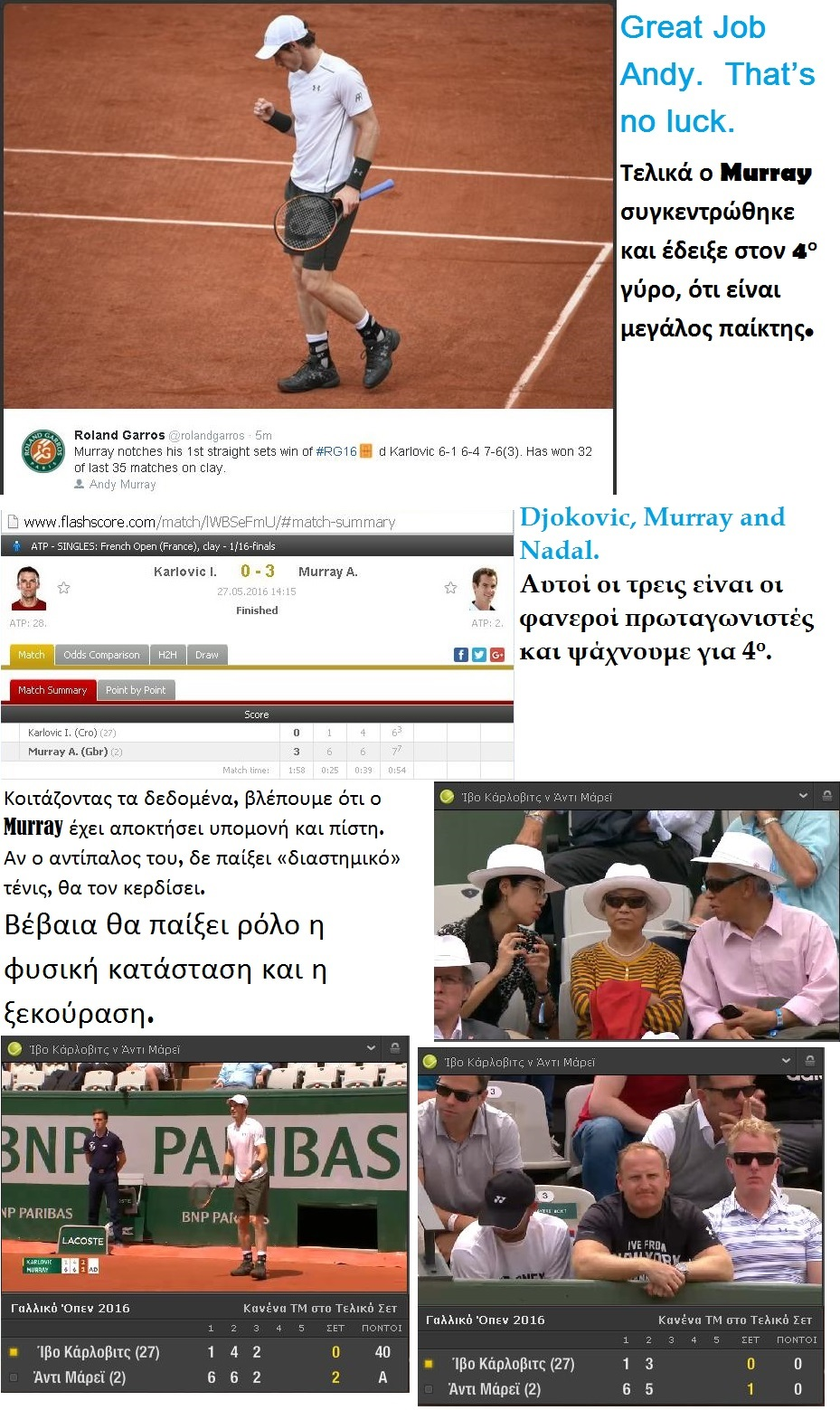 TENNIS GRAND SLAM ROLAND GAROS KARLOVIC VS MURRAY WIN 01 280516