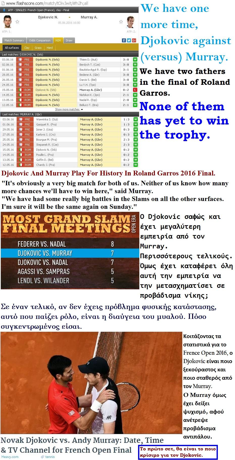 TENNIS GRAND SLAM ROLAND GARROS DJOKOVIC VS MURRAY 01 050616