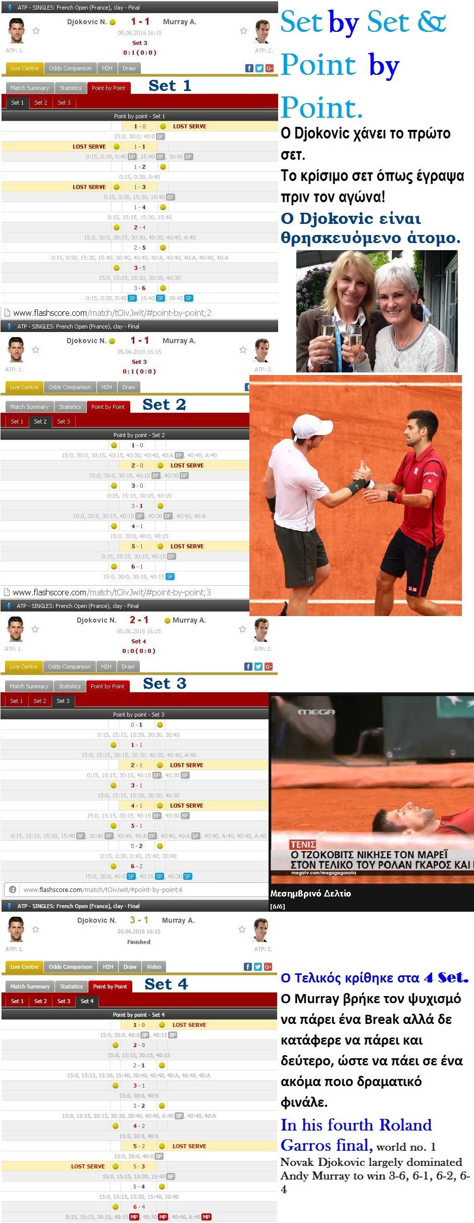 TENNIS GRAND SLAM ROLAND GARROS FINAL DJOKOVIC WIN VS MURRAY 240 060616