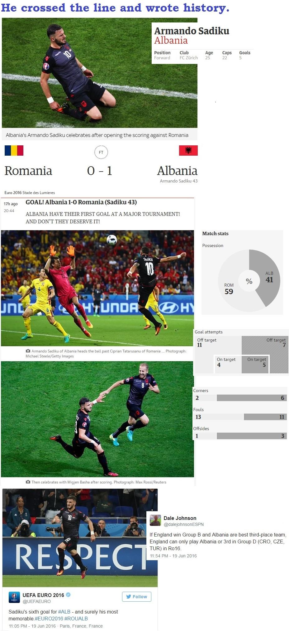 FOOTBAAL EURO2016 ROMANIA VS ALBANIA WIN 05 200616