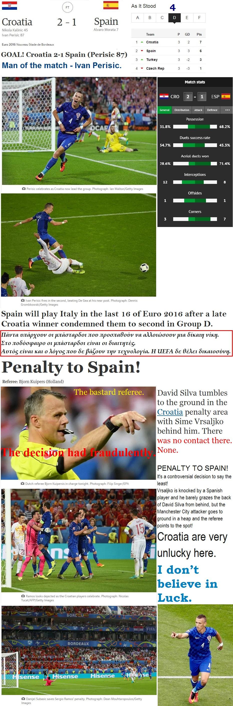 FOOTBALL EURO2016 CROATIA WIN VS SPAIN 03 220616