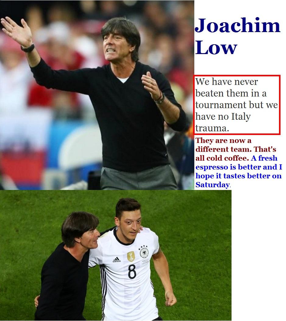 FOOTBALL EURO2016 GERMANY WIN VS ITALY JOAKIM LOW 01 030716
