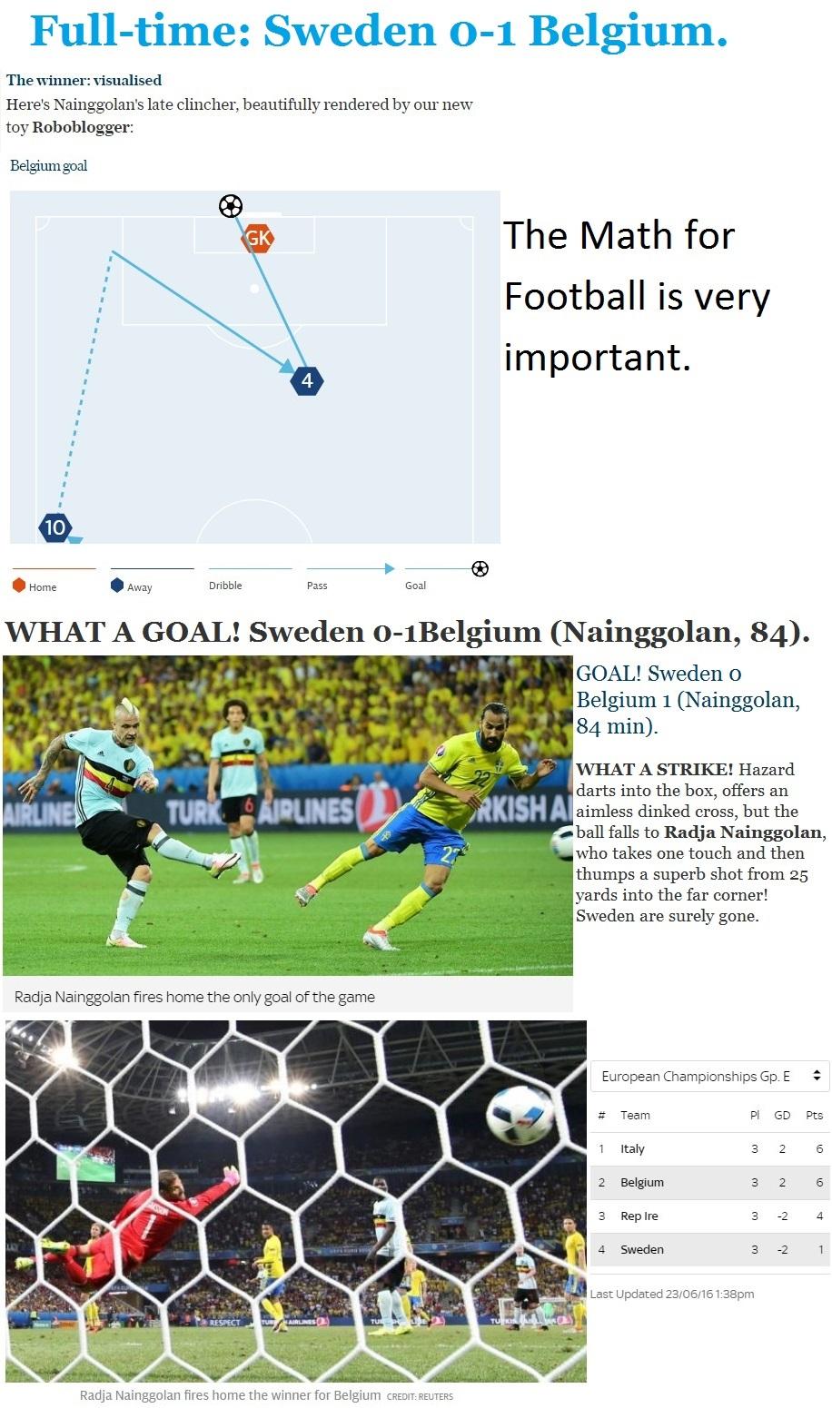 FOOTBALL EURO2016 SWEDEN VS BELGIUM WIN 01 240616