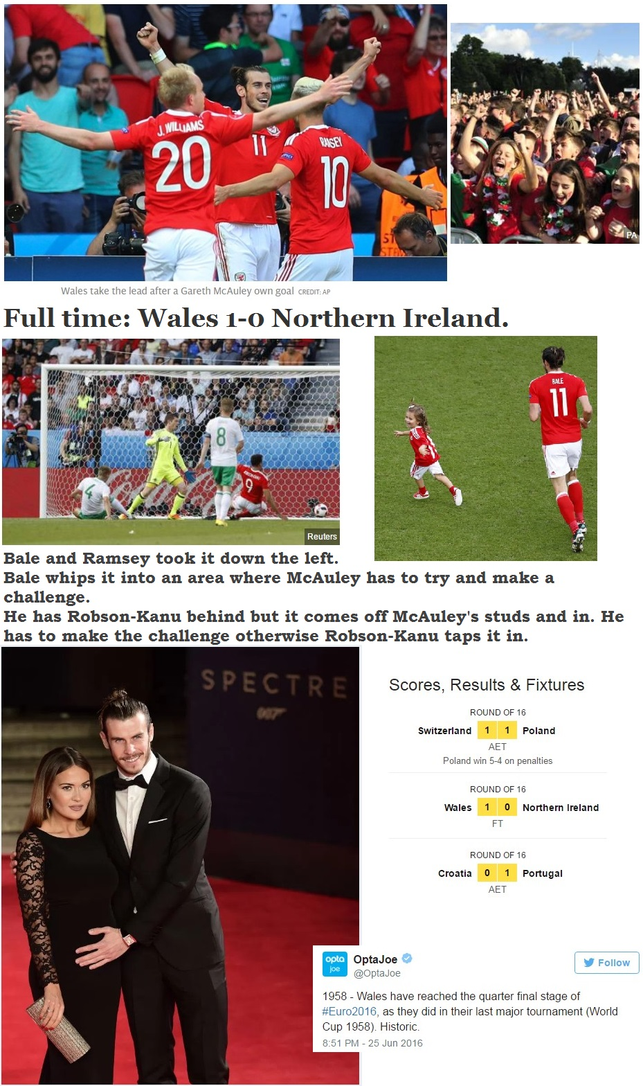 FOOTBALL EURO2016 WALES WIN VS NORTHERN IRELAND 46 260616
