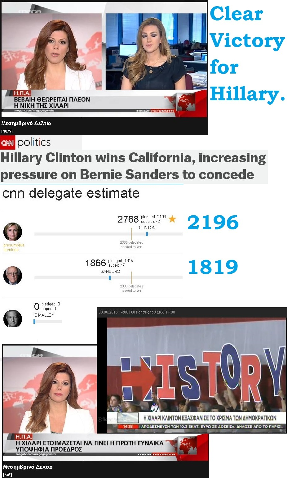 USA ELECTION PRIMARIES DELEGATES HILLARY CLINTON CALIFORNIA 011 090616