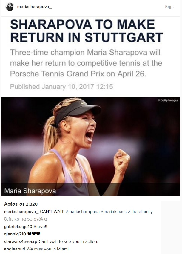 c289bc4001 Maria Sharapova  Return